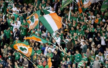 Pic: The brilliant 'Oh me nerves' Irish flag at the FIFA under-17 World Cup Final yesterday