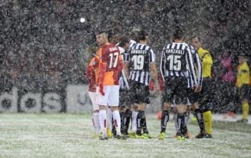 Pics: How a Champions League game went from clear to snowed off in eight minutes