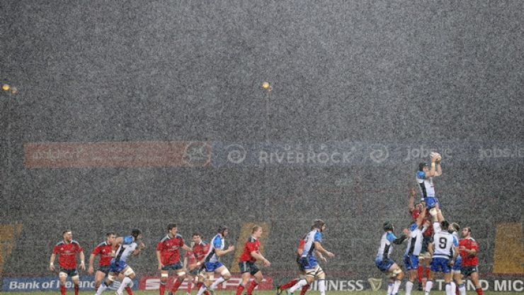 Hail, hail. Cracking snap of Munster duo battling the conditions in Thomond last night
