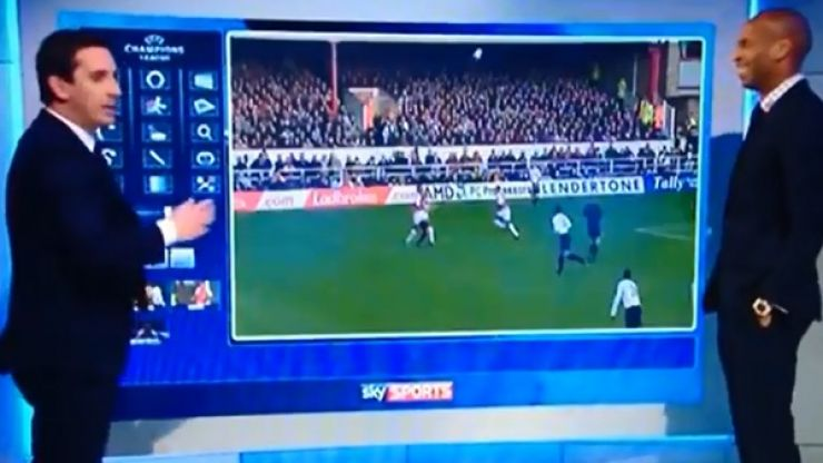 Video: Gary Neville and Thierry Henry teamed up to take the mick out of Jamie Redknapp last night