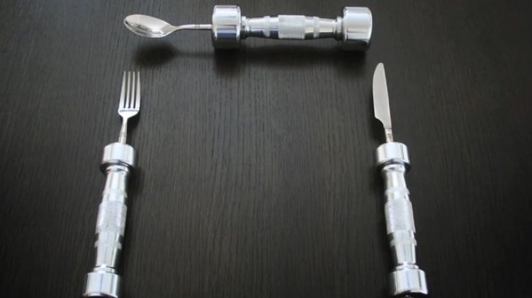 Want to keep in shape over Christmas? Then try dumbbell cutlery
