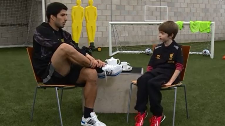 Video: Luis Suarez faces his toughest interview yet… by a ten-year old Liverpool fan