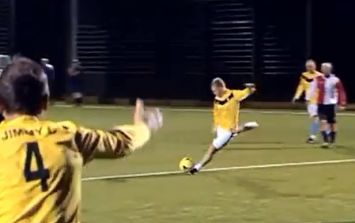 Video: He's at it again - Paul Scholes scores direct from a corner in astroturf