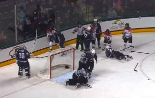 Video: Huge hit leads to a brawl between these two women's ice hockey teams
