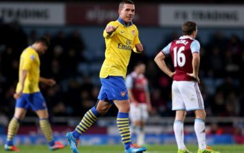 GIF: Lukas Podolski makes a goal scoring return against West Ham