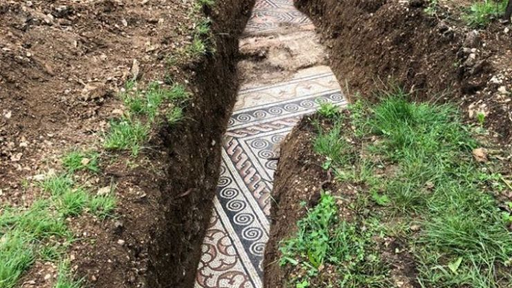 Ancient Roman mosaic floor discovered underneath vineyard in Italy