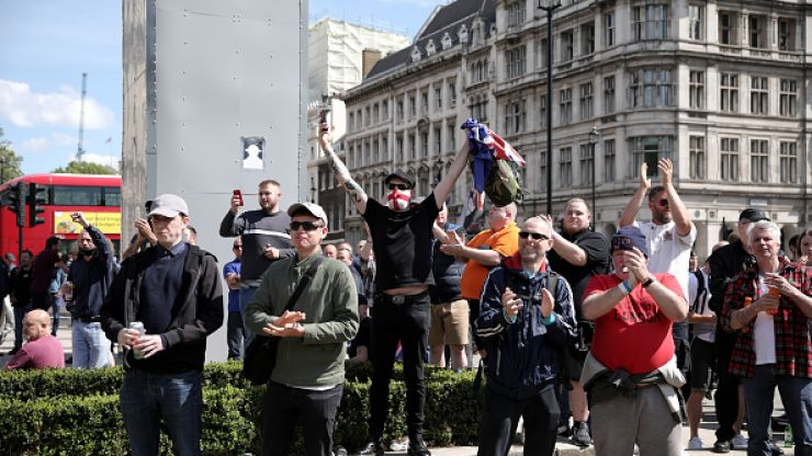 Far-right demonstrators clash with police in London over Churchill statue