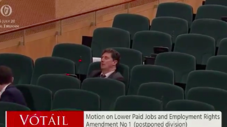 Eamon Ryan appears to fall asleep during Dáil vote, has to be woken up