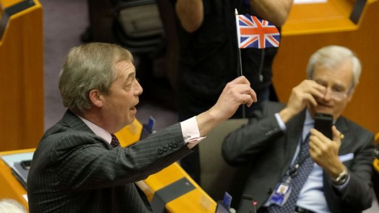 """""""Put your flags away, you're leaving"""" - Mairead McGuinness blasts Nigel Farage in European Parliament"""