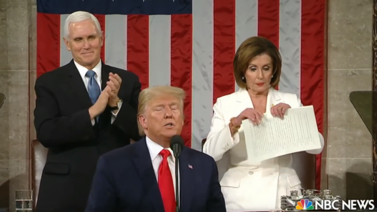 Nancy Pelosi rips up copy of Trump's State of the Union address as he finished his speech
