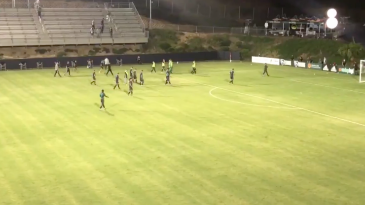 American soccer team walk off pitch after opposing player allegedly used homophobic slur