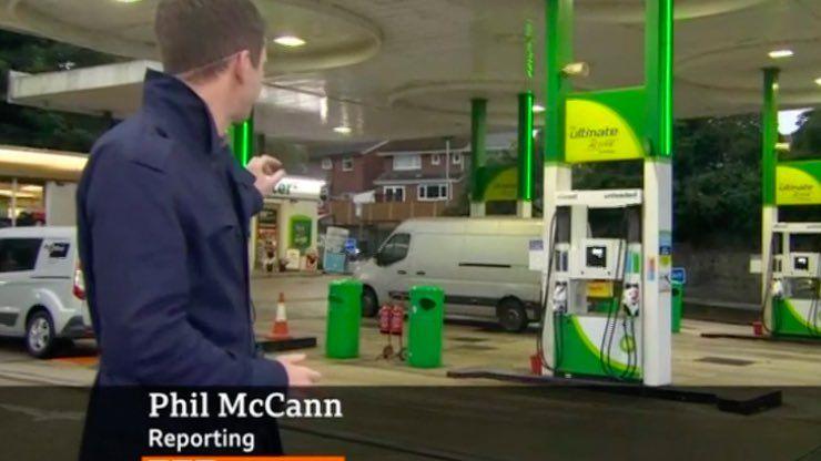 BBC reporter covering petrol shortage called Phil McCann