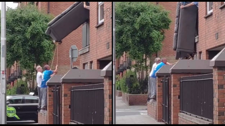 """""""Only in Dublin"""" - Viral clip sees three men remove sofa from window with sweeping brushes"""