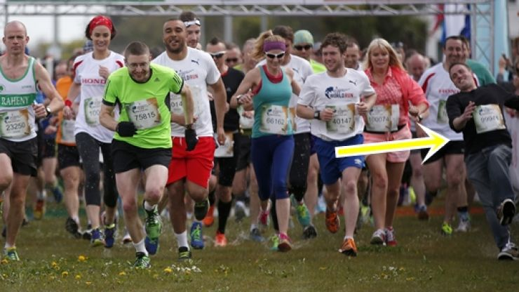 GIF: Not have the best start for this lad at Wings for Life World Run