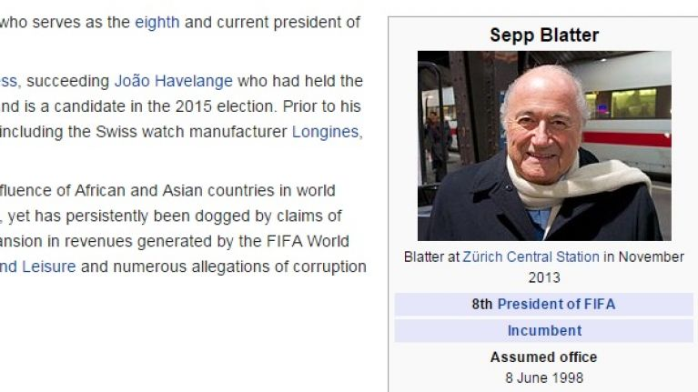 PIC: Sepp Blatter's Wikipedia has been updated and it'll shock you to learn that it wasn't kind