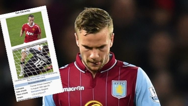 Someone has been messing around with poor Tom Cleverley's Wikipedia page