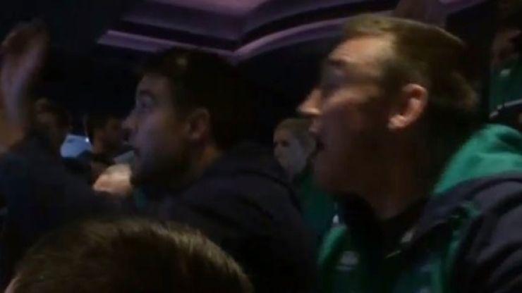 WATCH: Irish rugby team go crazy as Conor McGregor sends Chad Mendes sprawling