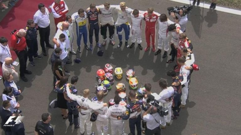 VIDEO: Formula One drivers lead touching minute's silence in memory of Jules Bianchi