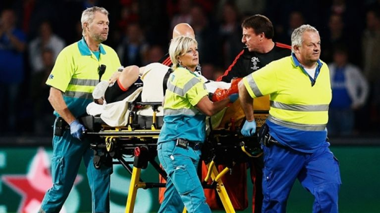 Jack Grealish and Nathaniel Clyne offer support to injured Luke Shaw
