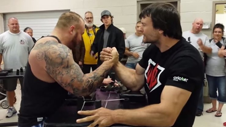 Watch: Game of Thrones' The Mountain gets destroyed by arm-wrestling champ