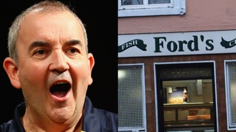 Phil 'The Power' Taylor was a popular visitor to the most famous chipper in Limerick last night