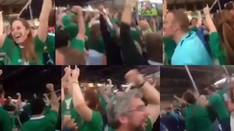 VIDEO: The Irish in the Cardiff fanzone go absolutely bonkers celebrating Japan's World Cup win