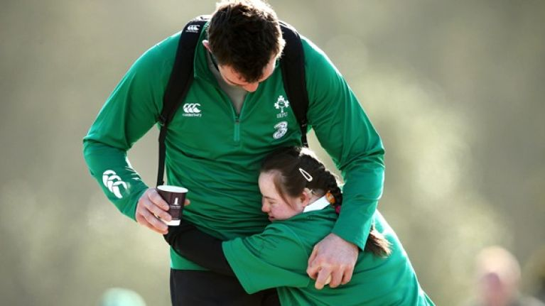 Pics: Best tackle of the day as Ireland's biggest rugby fan meets her heroes
