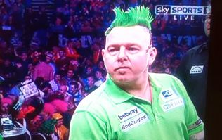 Pic: Peter Wright was really playing up to the Irish crowd at the Darts tonight