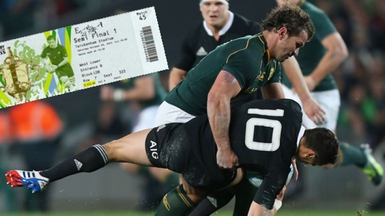 World Cup ticket prices for New Zealand v South Africa have changed drastically since 1995