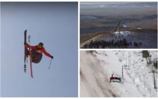 VIDEO: Ballsy skier narrowly avoids disaster when 364ft jump goes badly wrong