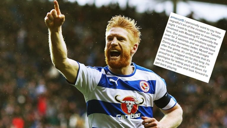Paul McShane issues classy apology for clash with Reading teammate