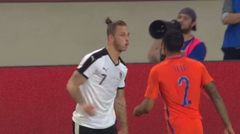 WATCH: Stoke's Marko Arnautovic seemed to spit at Dutch defender in international friendly