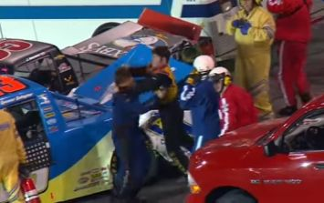 WATCH: Pair of Nascar drivers try to dig the head off of each other after collision
