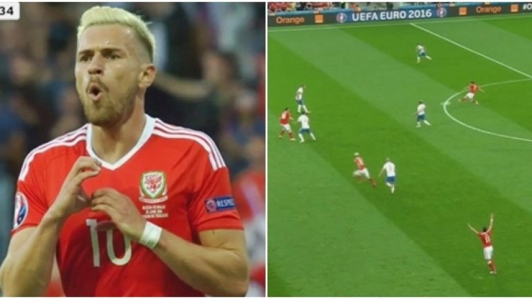 WATCH: Joe Allen officially arrives at Euro 2016 with a sumptuous assist for Aaron Ramsey