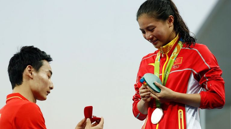 WATCH: Chinese diver He Zi took an age to respond to marriage proposal on Olympic podium