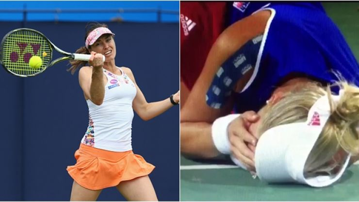 WATCH: Martina Hingis smash ball straight into opponent's face during Olympic tennis