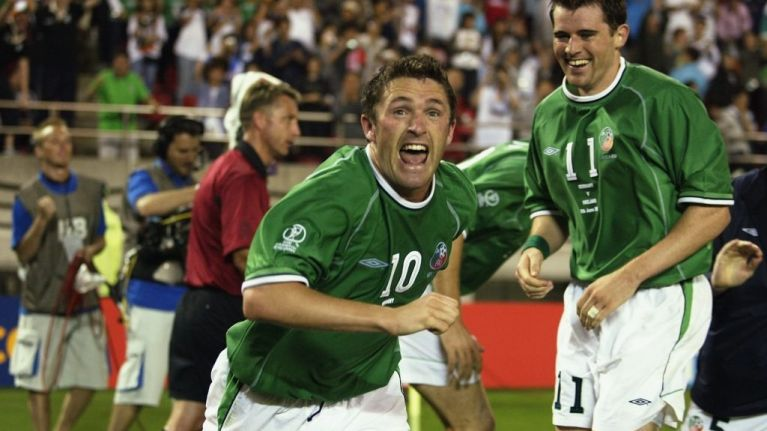 Image result for robbie keane germany 2002 celebrations