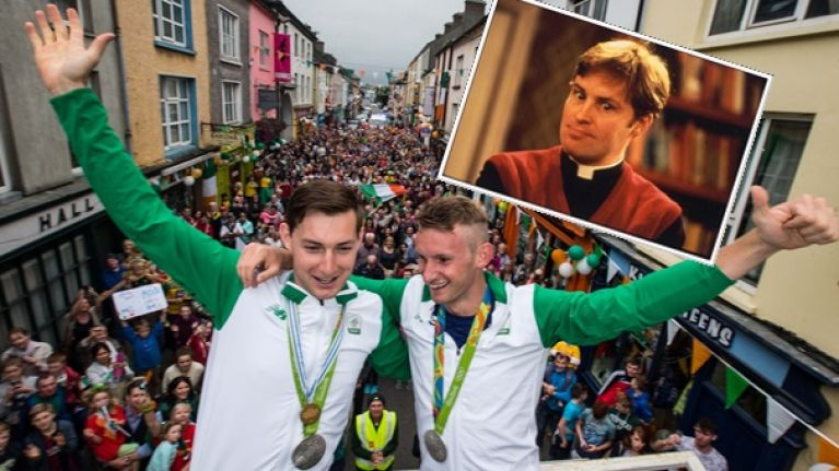 VIDEO: Paul O'Donovan channels his inner Dougal McGuire as he returns home with brother Gary