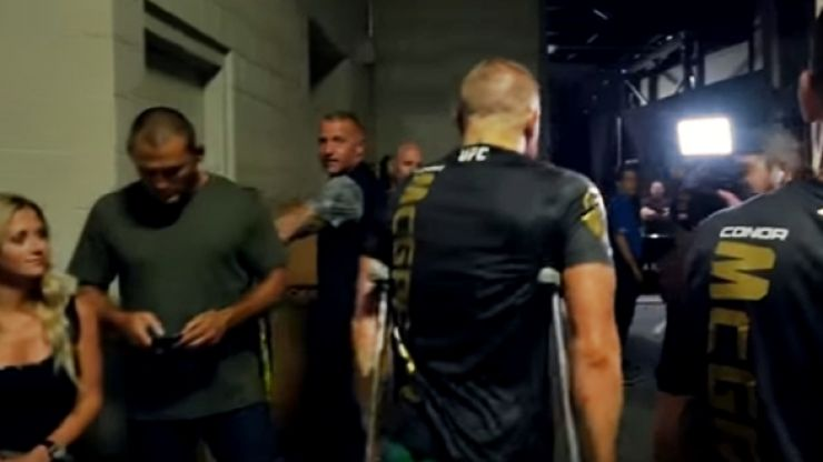 WATCH: Remarkable footage of Conor McGregor, on crutches, calling out doubters backstage at UFC 202