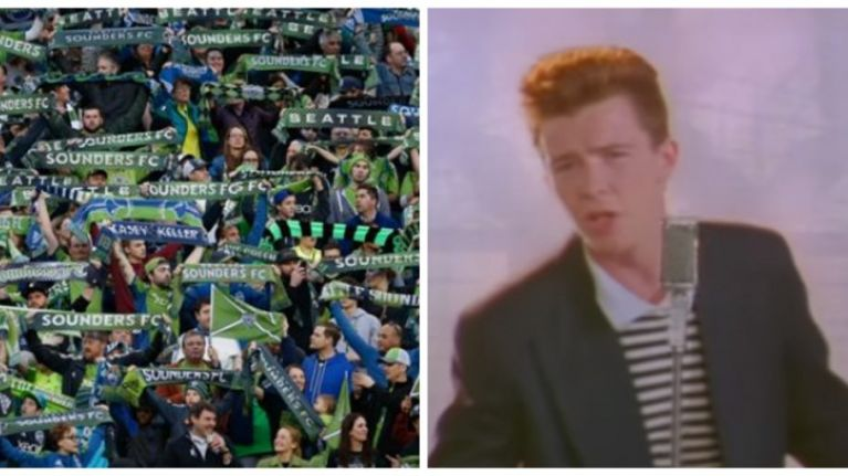 Seattle Sounders fans hold up Rick Astley lyrics in weirdest tifo ever