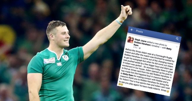 Seriously classy gesture from Robbie Henshaw to young Connacht fan