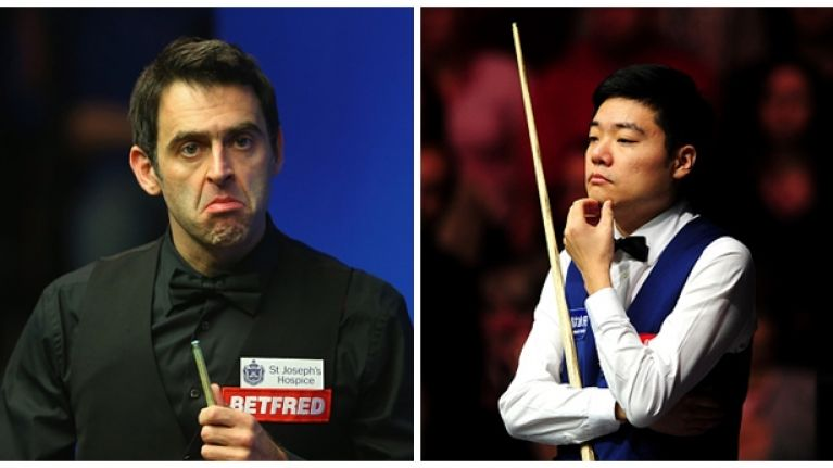 Ronnie O'Sullivan takes the p*** after Ding Junhui makes a 147 break