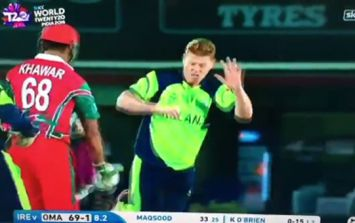 WATCH: Oman batsman swings wildly at Kevin O'Brien's legs during wicket celebrations