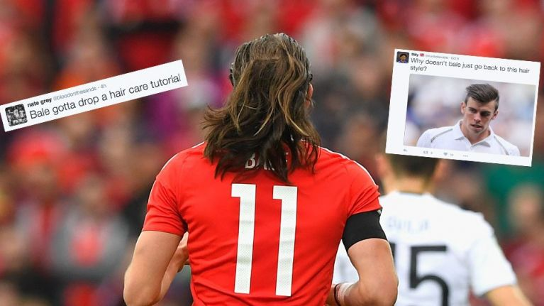 154b793aa An important moment in football history  Gareth Bale lets his hair down  while playing for