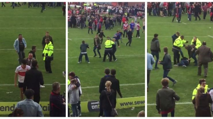 VIDEO: Fight breaks out on pitch after rugby league's Million Pound Game