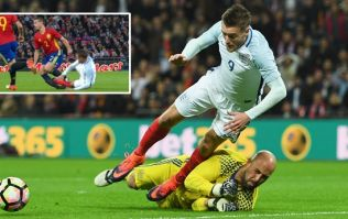 WATCH: Jamie Vardy wins a penalty for England, but he was lucky not to be sent-off