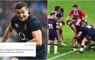 WATCH: England winger Jonny May's attempts at scrummaging are a sensation