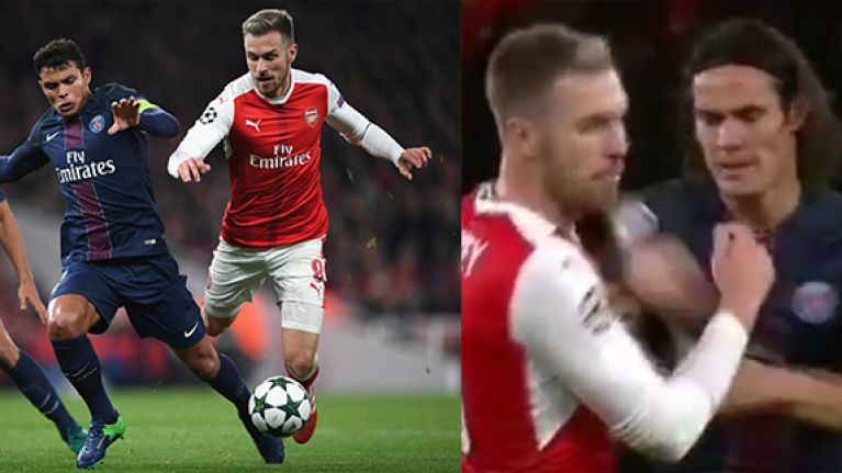 WATCH: Aaron Ramsey's jaw just about remains intact after being flicked by Edison Cavani