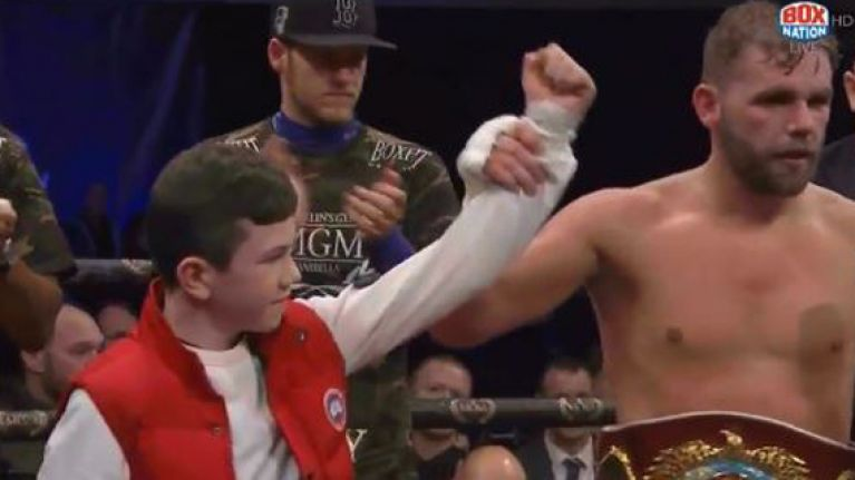WATCH: Touching scenes as Billy Joe Saunders calls young cancer survivor into the ring after first defence