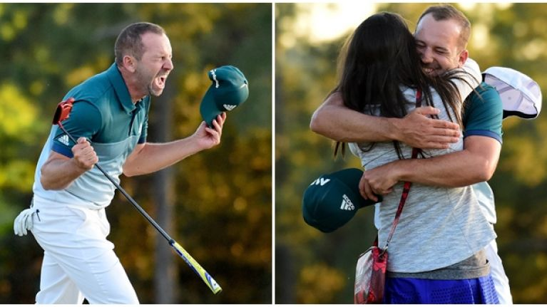 WATCH: Sergio Garcia's fiancee's reaction to his Masters win is just beautiful